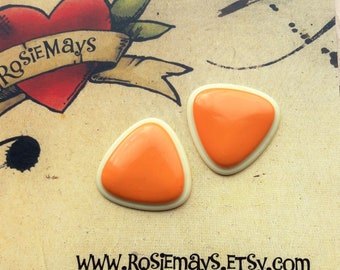 Peach And Cream Geometric Earrings, 50s 60s Inspired, Vintage Inspired Triangle Studs, Rockabilly, Pin Up.