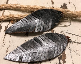 Leather Leaf Earrings, Birthday, Leaf Earrings, Feather Earrings, Dangle Earrings, Long Earrings, Metallic Leather Earrings, Fringe Earrings