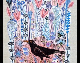 collage, linocut,  blackbird, bird art, floral collage, flowers, pink and blue, nature, landscape art, handprinted fabrics, fiber art,