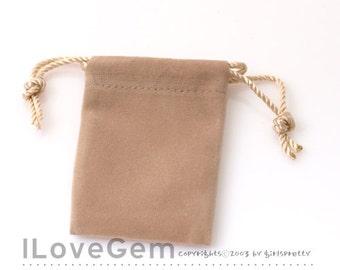 PO04 Jewellery pouch, Square, Beige, Velvet, mini size, 2pcs