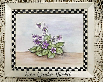 Violets Hand Painted on Canvas Panel, Distressed Stately Checks Framed, Home Decor for Wall or Tabletop, ECS