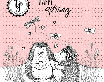 Hedgehogs in springtime - instant download digital stamps by Tierra Jackson
