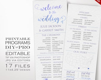 Wedding Program Template - Watercolor Wedding Program - Printable DIY Watercolor Wedding Order of Service Editable Wedding Program
