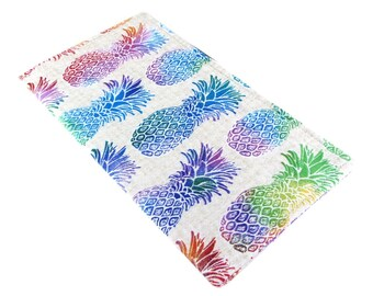 Checkbook Cover Wallet - Slim, Two Pocket Design Holds Cash And Checkbook - Colorful Pineapple Fabric - Women's Stocking Stuffer