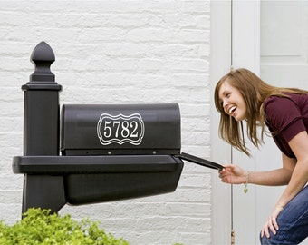 Mailbox Custom Numbers Decal // Small Decal // Mailbox Numbers with Frame // Personalized Address // Framed Address