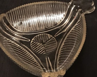 Vintage Ashtray Art Deco Glass Ribbed Design Clear Glass