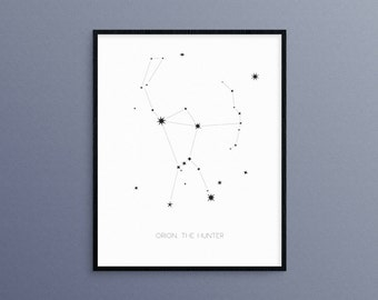 Orion, The Hunter Constellation | Orion's Belt Star Astrology Wall Art Print