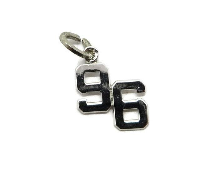 Vintage Silver 96 Charm - Sterling Silver Number 96 Pendant, Starter Charm, Charm Bracelet, Gift for Her