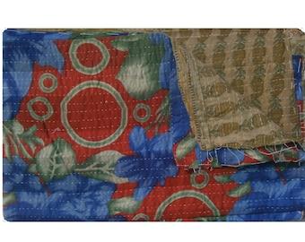 Vintage Kantha Quilt Handmade Indian Blanket Cotton Sticth  Bedspread  One Of Kind Indian Rversible  Throw Quilt  #1006