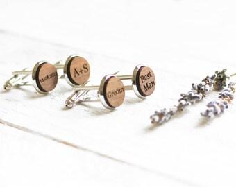 Personalised Cufflinks, Custom Cufflinks, Personalized Wedding Cufflinks, Wooden Cufflinks, Groom Cufflinks, Engraved Cufflinks