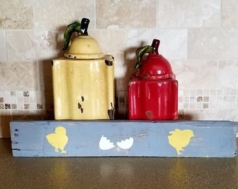 Chicks and Egg Hand Painted Sign - Reclaimed Barn Board Pallet Wood Grey Yellow Recycled Easter Chicken Hen Rooster Farm
