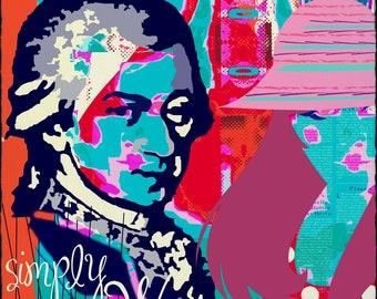 Mozart und die Frauen, Musik, Österreich,  popart, Kunst, Bild, Wandbild, Mozart, Salzburg, Wien, Kultur, Geschenk, Original, originell