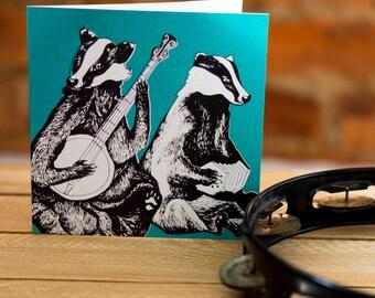 Musical Badgers Greetings Card