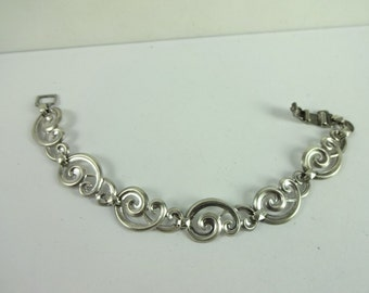 Vintage Sterling Silver 925 WRE W.E. Richards Unusual Swirl Link Bracelet