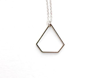 Large Silver Diamond Shaped Necklace, Minimalist Geometric Necklace, Outline Diamond Brass Cutout