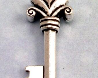 Fleur Key Pendant, Antique Silver, TierraCast TS64