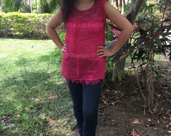 Traditional mexican fucsia with detail blouse of loom