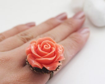 Peach - Oversize Rose Lace Ring (VRG-42)