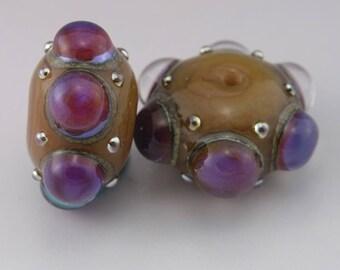 SRA Lampwork Beads Brown Lampwork Bead Pair Rondelle Beads Purple Luster Dots Metallic Beads Handmade Earring Pair Heather Behrendt 4102