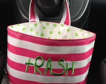 Beth's Oilcloth Stripes Embroidered Car Trash Bag