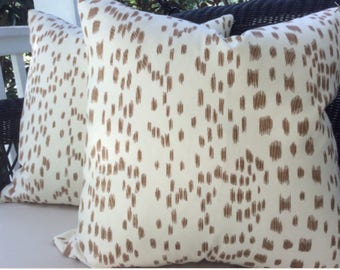 Brunschwig and Fils Pillow Cover in tan and soft white Les Touches Design, off White Linen Backing