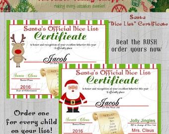 santa certificates