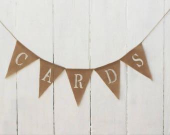 Cards Banner, Cards Burlap Banner, Wedding Decor, Wedding Sign, Rustic Wedding, Party Decor, Cards Table Sign