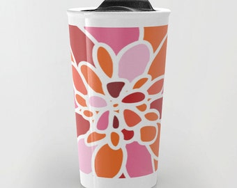 Dahlia Flower Ceramic Travel Mug With Lid - Coffee Mug - Orange Pink Red Flower Petals Design Travel Mug - Aldari Home