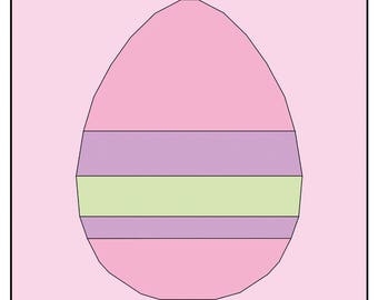 Striped Easter Egg : Paper Piecing pdf Pattern