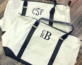 Navy Weekender Bag-Navy Canvas Bag-Navy Luggage-Monogrammed Luggage-Monogrammed Weekender-Christmas Gift-Bridal Party Gifts-Groomsmen Gifts