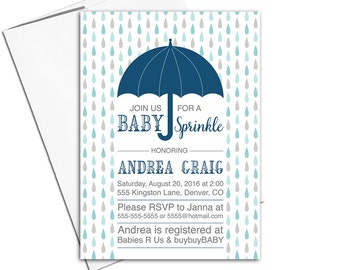 baby sprinkle invitations boy | sprinkle shower for baby boy | umbrella invitations | boy baby shower invitation | navy mint - WLP00850