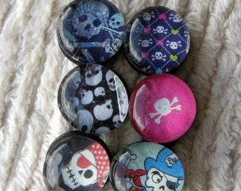pirate love ain't just for boys anymore. glass bubble magnets. set of six.