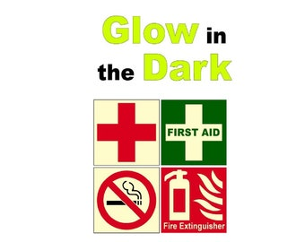 First Aid kit Red Cross No Smoking Fire Extinguisher Glow in the Dark Sticker Set