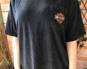 Vintage Harley Davidson 'Riding Free' Pocket T-Shirt