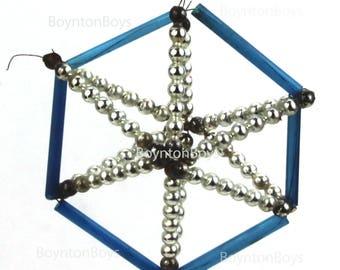 "Blue Mercury Glass • Wire Beaded • Christmas Ornament • Vintage • Russian/Czech? 3"""