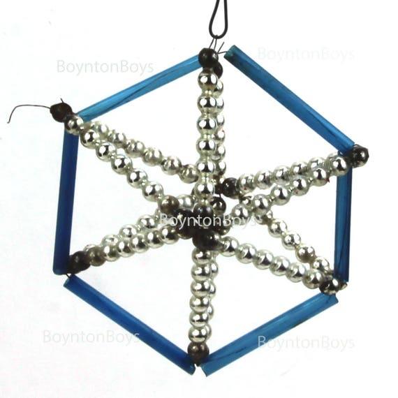 Blue Mercury Glass Wire Beaded Christmas Ornament