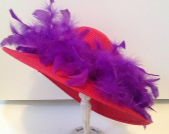 """Vintage styled Red Hat Society fancy hat. 15"""" across. #633"""
