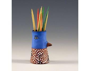 Quinten - Keramik Vogel Zahnstocher halten Knospe Vase von Jenny Mendes