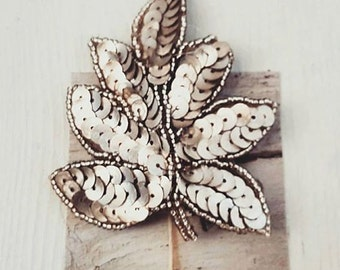 silver sequin leaf brooch