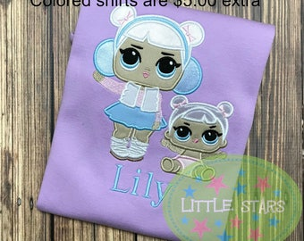LOL Snow Angel and Lil Sister Girl Shirt- Embroidered and Personalized