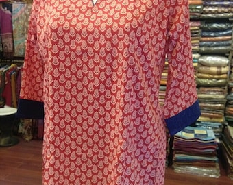 Women's  Printide  Cotton Tunic Blouse with 3/4 Length Sleeves