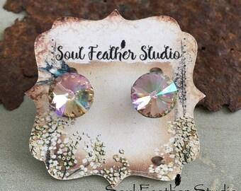 Swarovski CRYSTAL Earrings•Stud Earrings•Boho Earrings•Post Earrings•Champagne