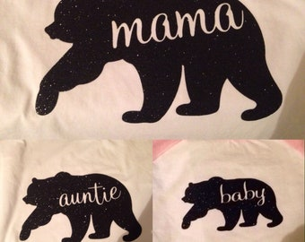 Mama bear and family shirt decals