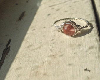 Watermelon Tourmaline Ring - Any Ring Size - Wirewrapped with Sustainable Silver - Ecofriendly, Magic, Fairy, Wedding, Anniversary, Band
