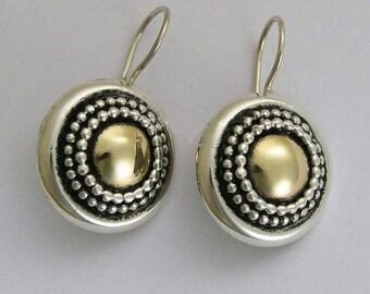 Sterling Silver Earrings, yellow gold earrings, mixed metal earrings, oxidized earrings, round earrings, dangle earrings - Gold Heart. E0294