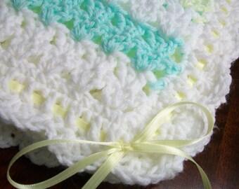 White Crochet Baby Blanket, White Crochet Baby Afghan, Yellow Handmade Baby Blanket, Green Baby Blanket, Green Yellow White Newborn Blanket