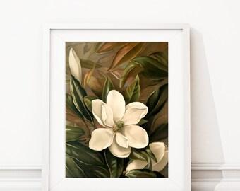 Magnolia Art Print. Magnolia Flower. Magnolia Print. Botanical Art. Botanical Print. Botanical Illustration. Farmhouse Bedroom Art. S483