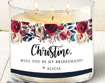 Bridesmaid Candle Label, Will You Be My Bridesmaid Gift, Asking Bridesmaid Gift, Bridesmaid Proposal, Candle Label for Bridesmaid, Candle