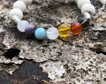 Beautiful Chakra Bracelet with Lava Stone ~ Moonstone ~ Lepidolite ~ Hemimorphite~ Rose Quartz ~ Citrine ~ Carnelian ~ Smoky Quartz