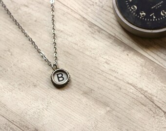 Mother In Law Gift Idea, Writer Gift Idea, Typewriter Key Necklace, Typewriter Jewelry, Vintage Typewriter, Initial B, Upcycled Necklace
